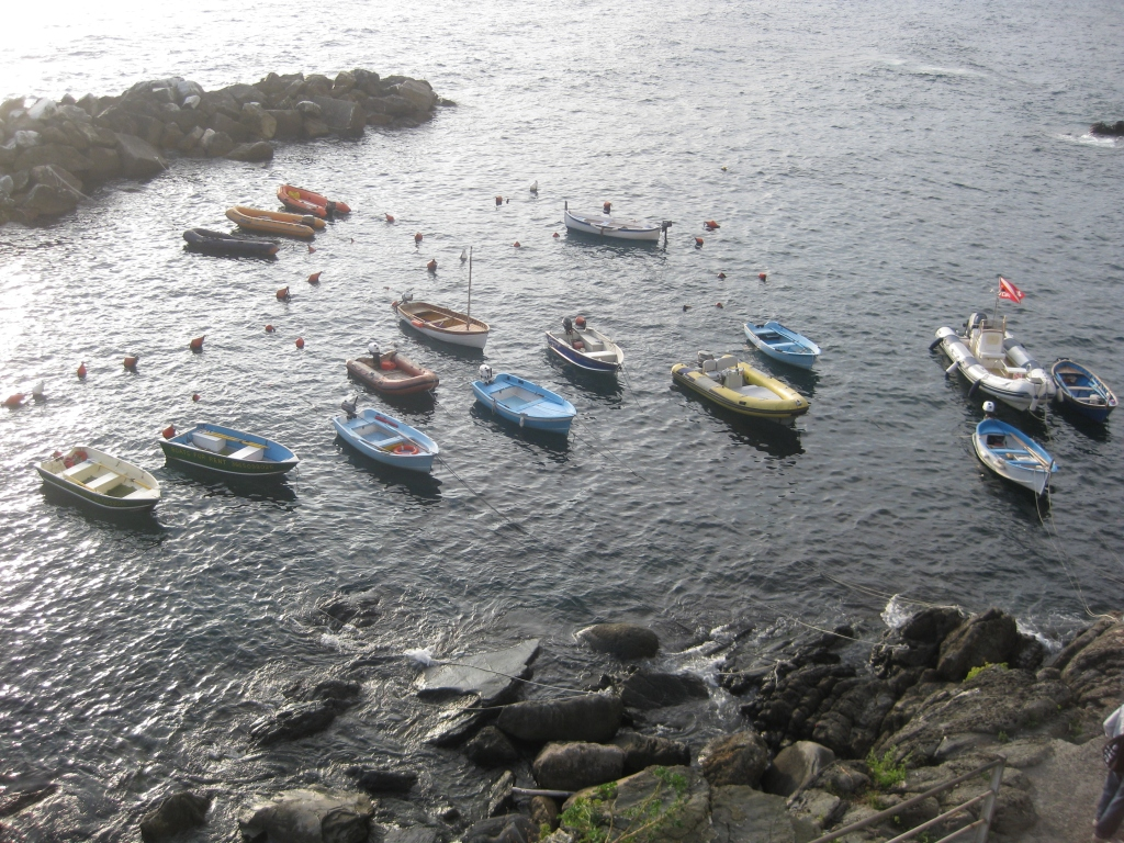 Boats parked along the cost of Riomaggiore