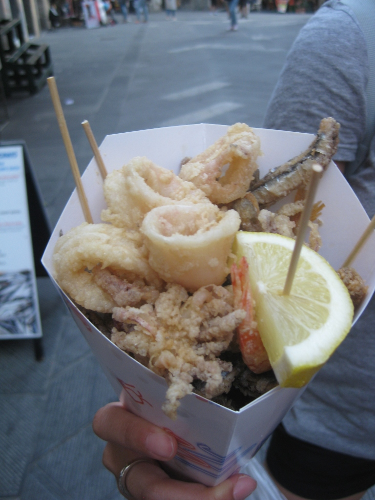 Fried shrimp, anchovies, and calamari