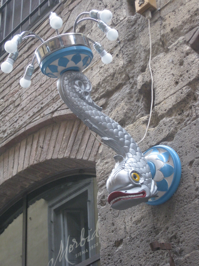 One of the many unique lamps found in Siena