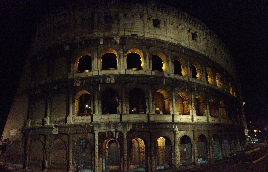 Nighttime view of the Colosseum
