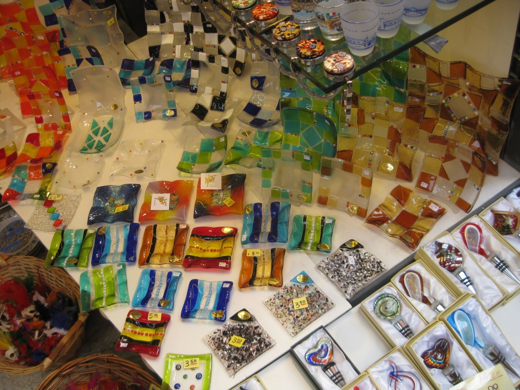 Murano glass jewelry at the Rialto Bridge shops