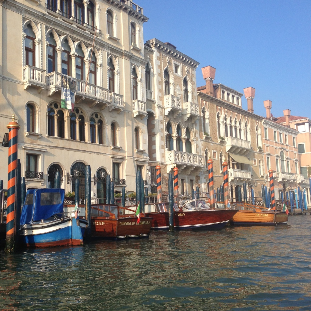 Parked boats along the Grand Canal