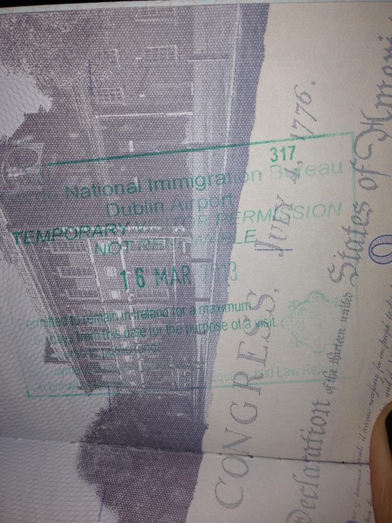 My very first international passport stamp!