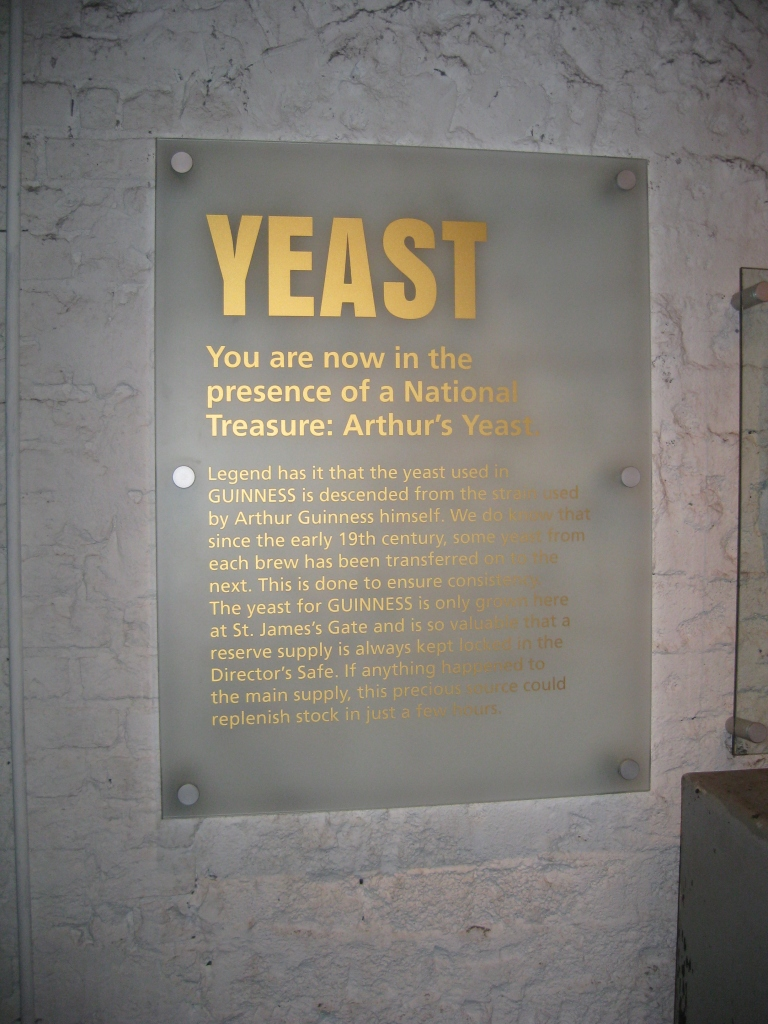 Yeast - 3/4 (main) ingredients used to make Guinness