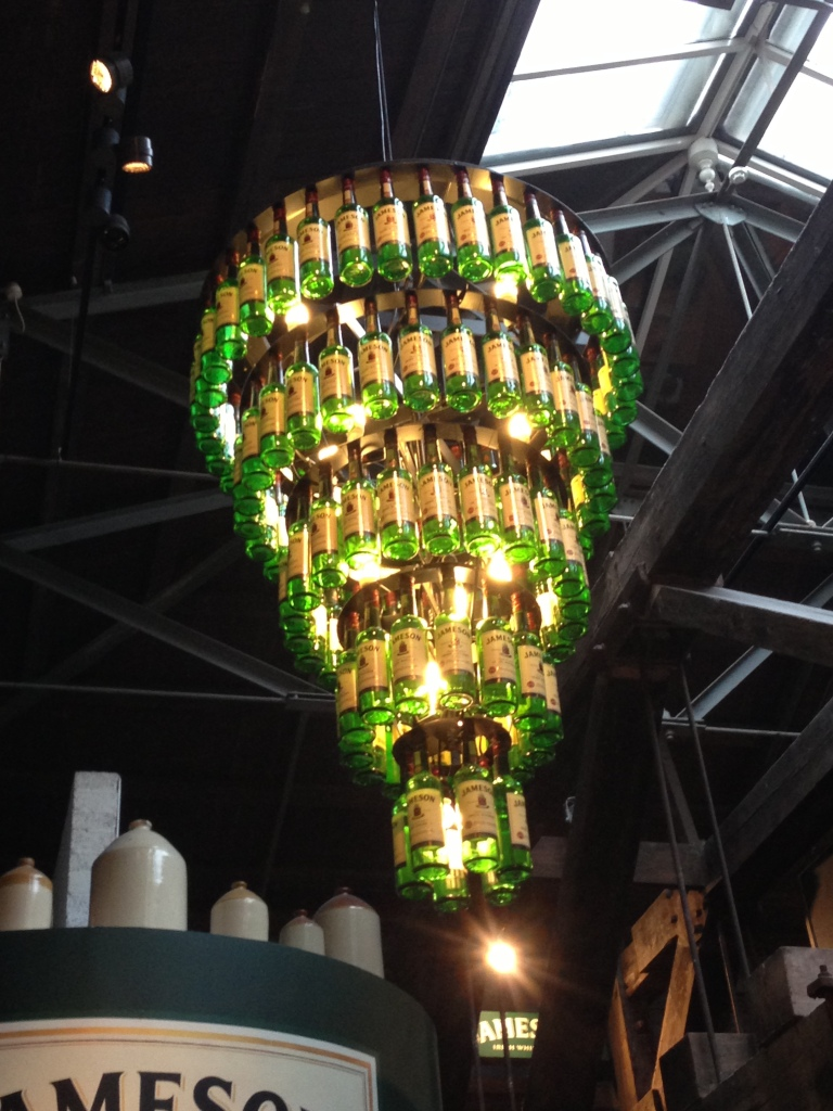Chandelier made from Jameson bottles