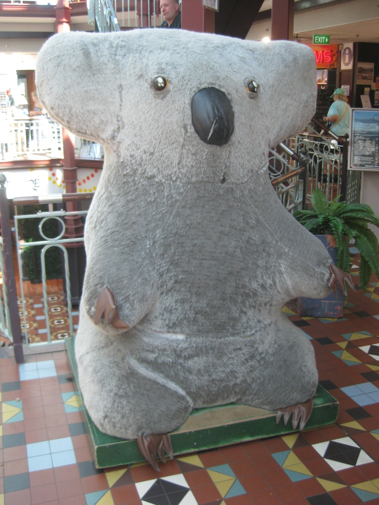 Don't forget to visit the giant koala at the Three Sisters World Heritage Center!