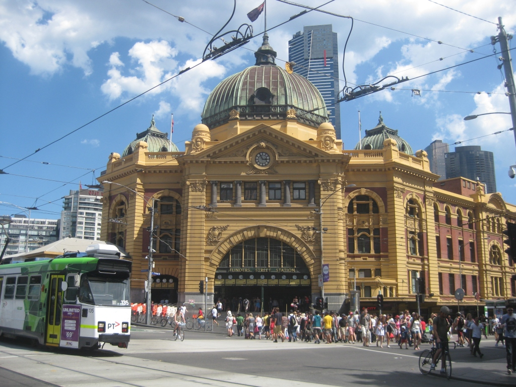 Flinder's Street Station - is the first railway station in an Australian city. It's still very much in use today, with over 92,000 entries per day recorded in 2011/2012. Even if you don't need to take any trains, the trip there is worth it - just the exterior is pretty magnificent.