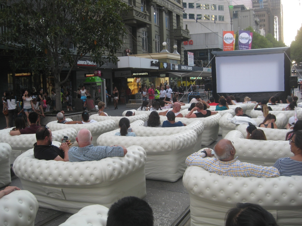 Inflatable couches set up for White Night