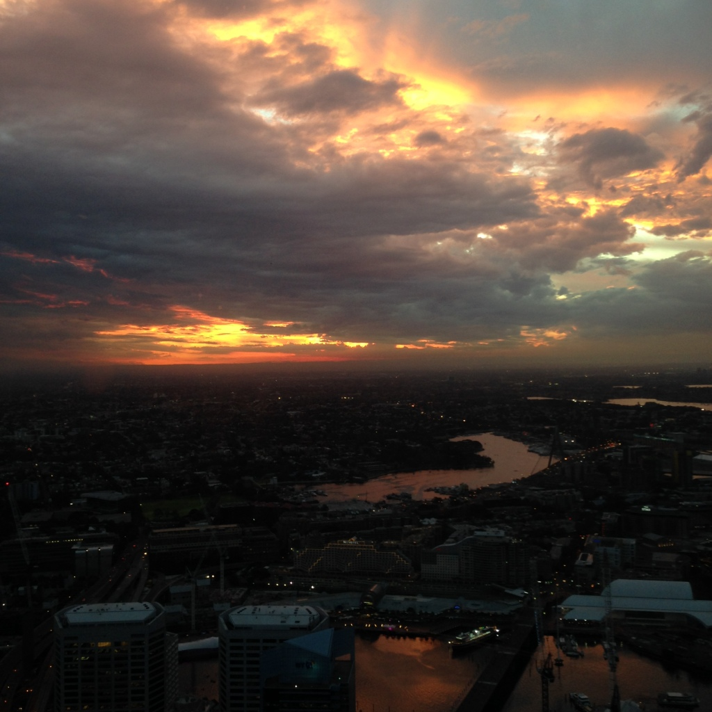 Sunset as seen from the Sydney Tower Eye observation deck