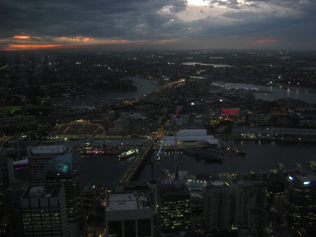 Darling Harbour as seen from the Sydney Tower Eye observation deck