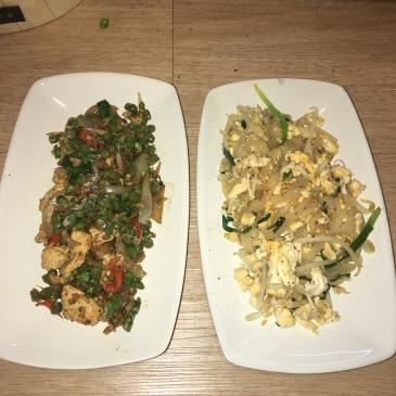 Thai basil hot chicken and pad thai